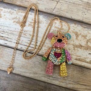 NEW✨ Betsey Johnson Rainbow Teddy Bear Necklace